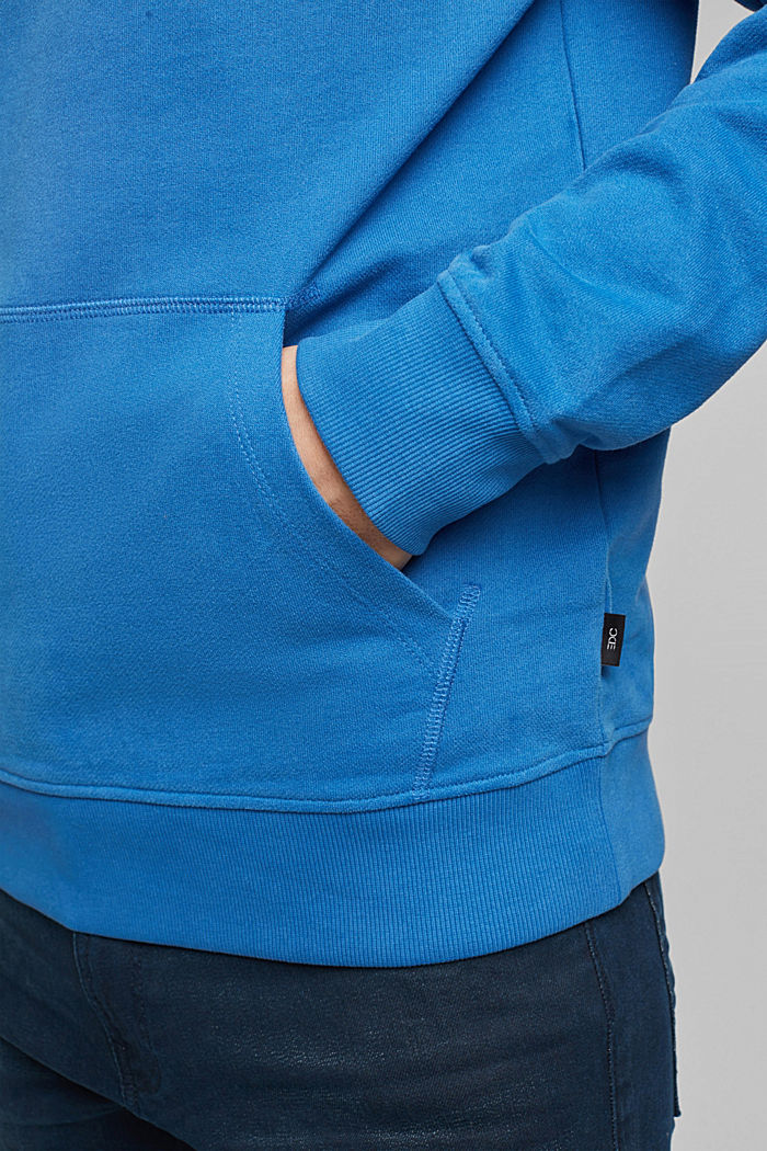Sweatshirt hoodie in 100% cotton, BRIGHT BLUE, detail image number 5