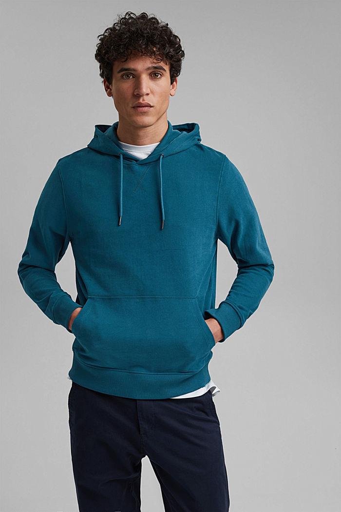Sweatshirt hoodie in 100% cotton, PETROL BLUE, detail image number 0