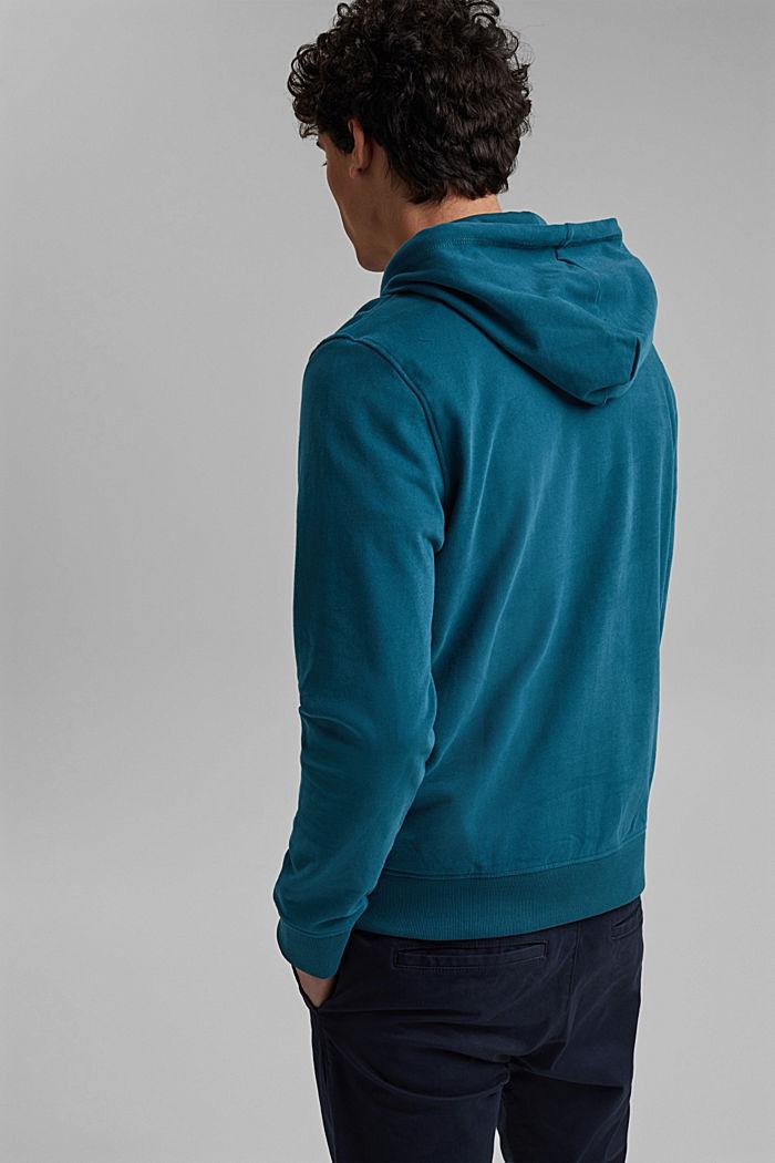 Sweatshirt hoodie in 100% cotton, PETROL BLUE, detail image number 3