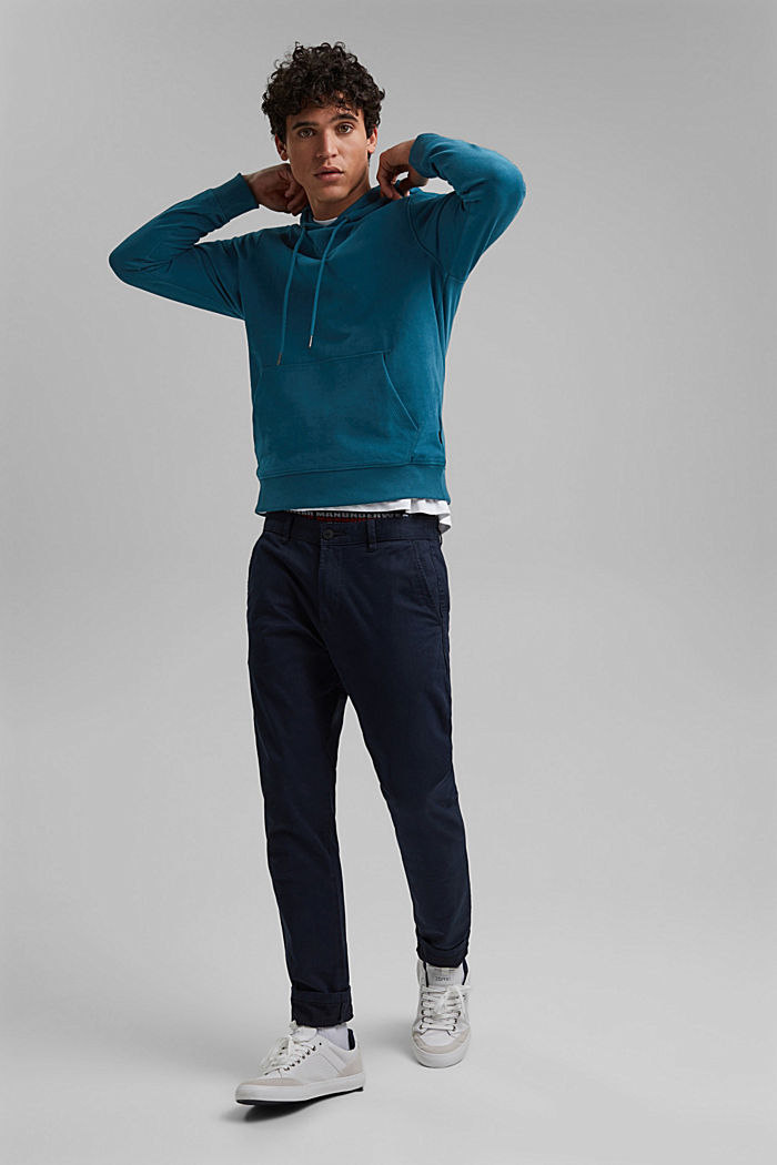 Sweatshirt hoodie in 100% cotton, PETROL BLUE, detail image number 1