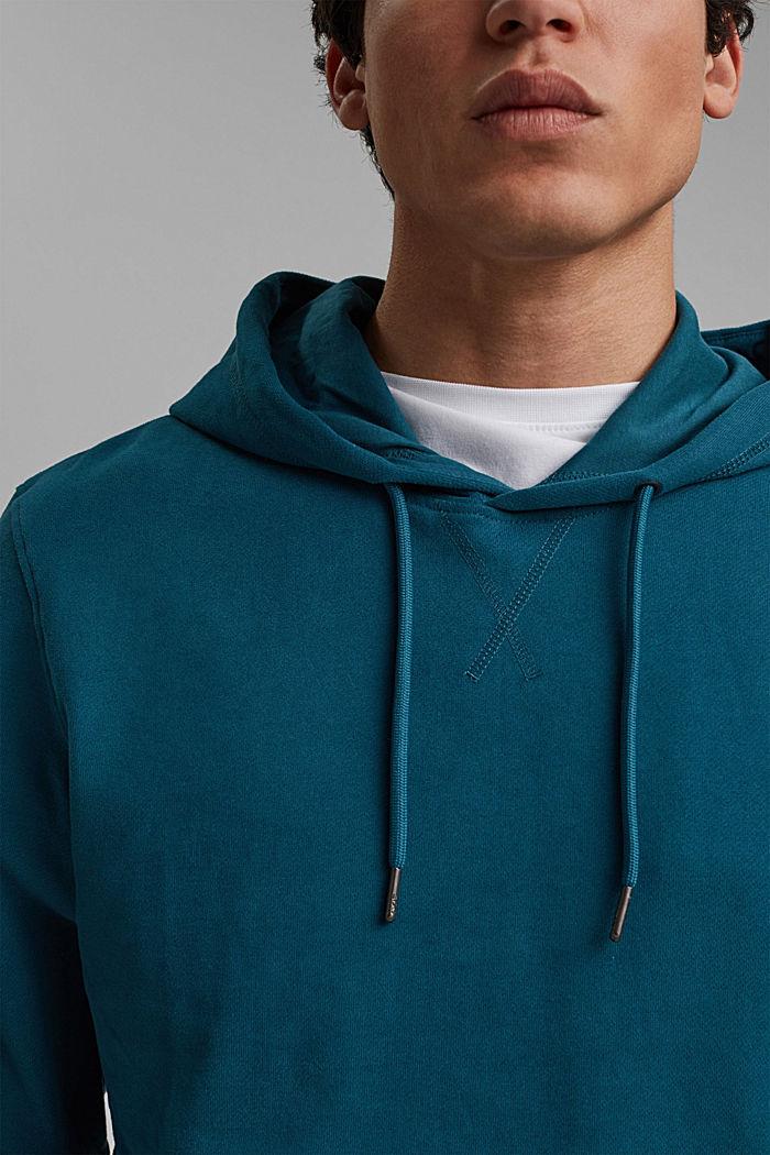 Sweatshirt hoodie in 100% cotton, PETROL BLUE, detail image number 2