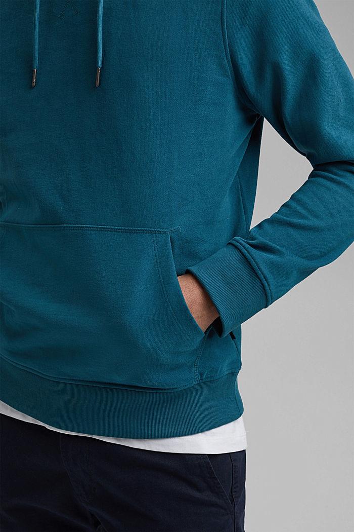 Sweatshirt hoodie in 100% cotton, PETROL BLUE, detail image number 6