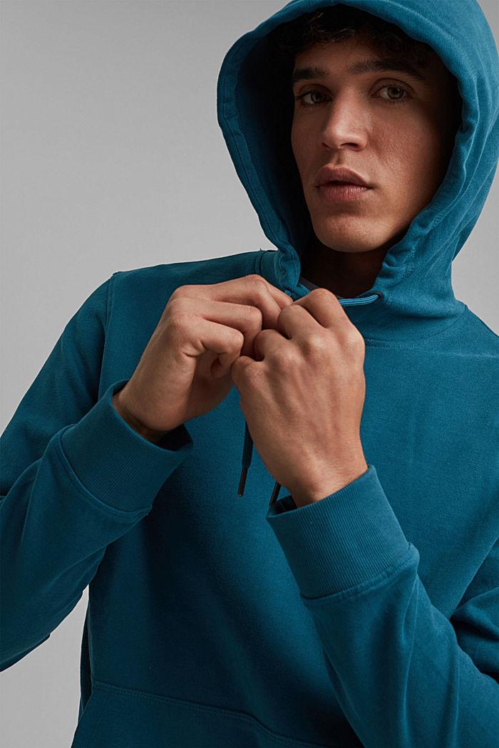 Sweatshirt hoodie in 100% cotton, PETROL BLUE, detail image number 5