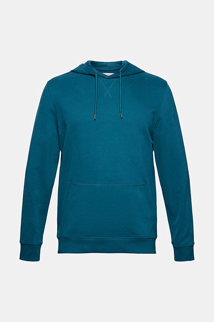 Sweatshirt hoodie in 100% cotton, PETROL BLUE, detail image number 7