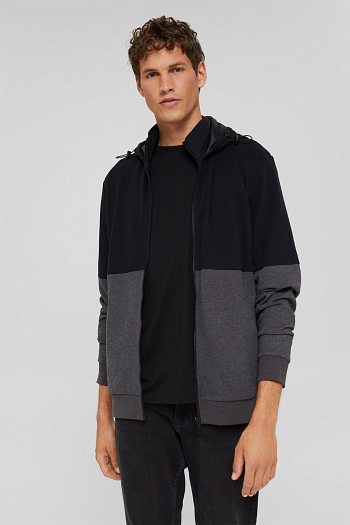 Colour block sweatshirt cardigan, BLACK, detail image number 0
