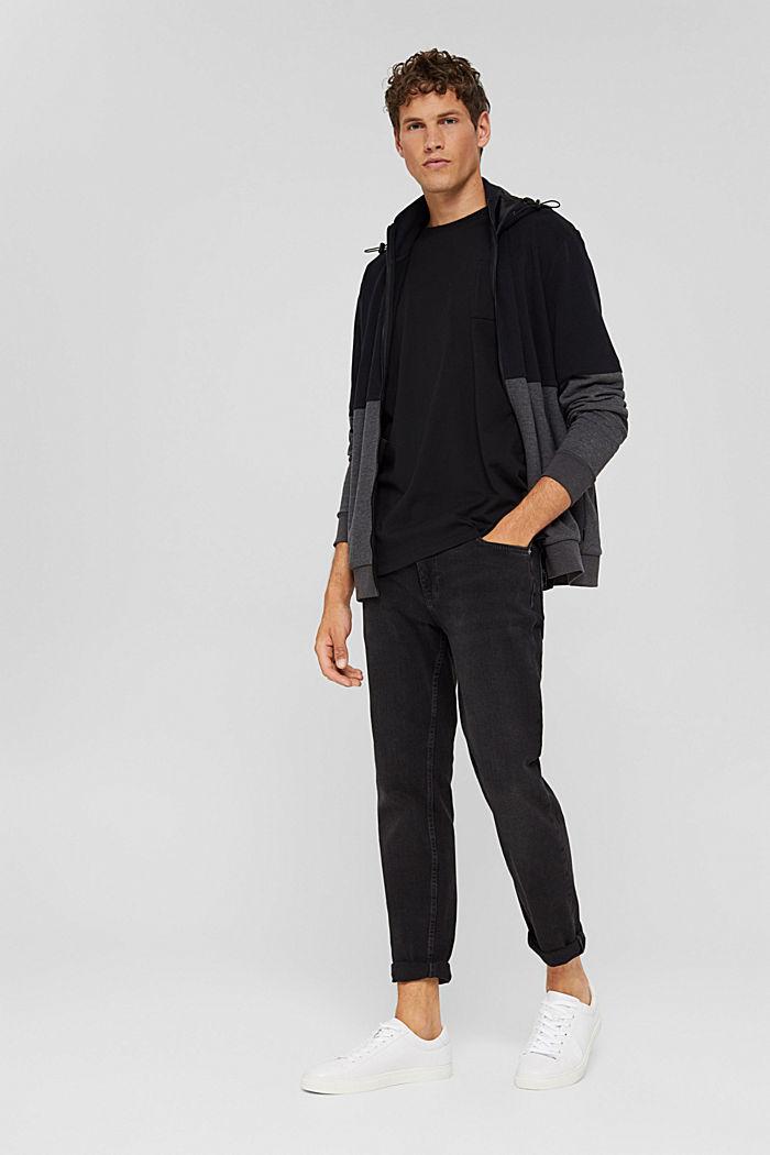 Colour block sweatshirt cardigan, BLACK, detail image number 1