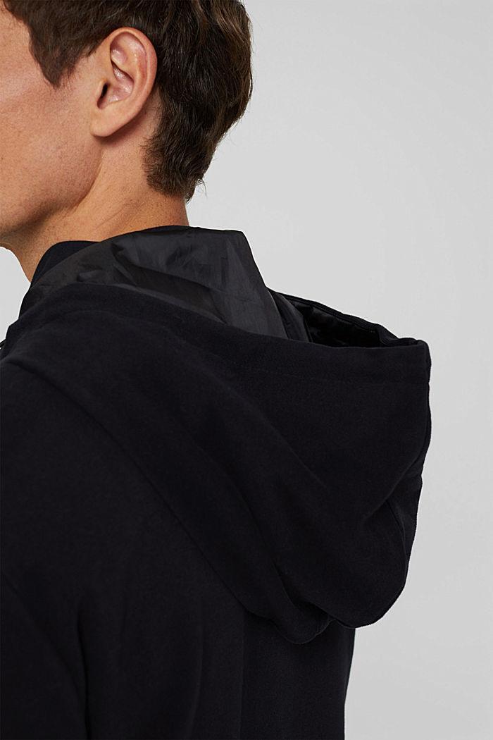 Colour block sweatshirt cardigan, BLACK, detail image number 6