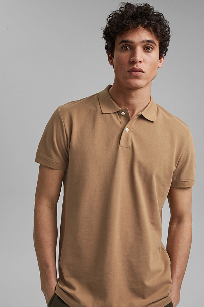 Piqué polo shirt made of 100% organic cotton, CAMEL, detail image number 0