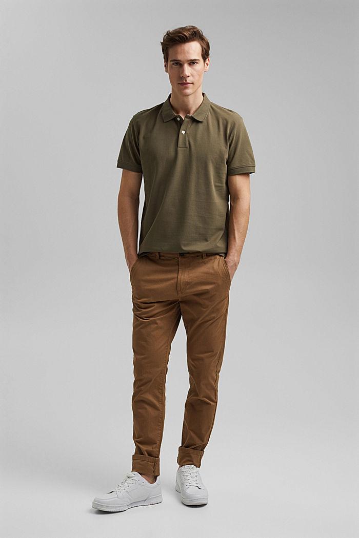 Piqué polo shirt made of 100% organic cotton, DARK KHAKI, detail image number 2