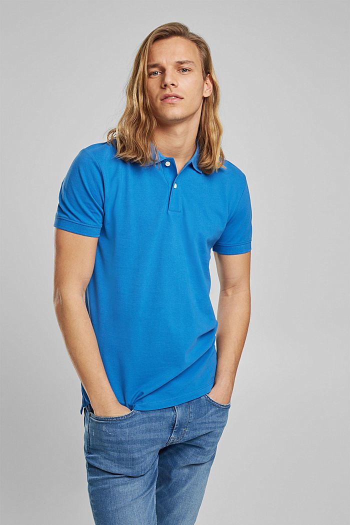 Piqué polo shirt made of 100% organic cotton, BRIGHT BLUE, detail image number 0