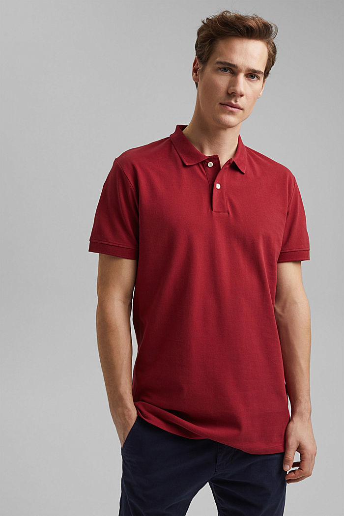 Piqué polo shirt made of 100% organic cotton, DARK RED, detail image number 0