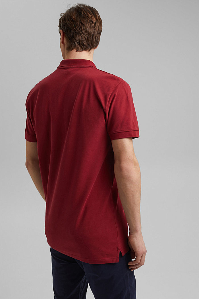Piqué polo shirt made of 100% organic cotton, DARK RED, detail image number 3
