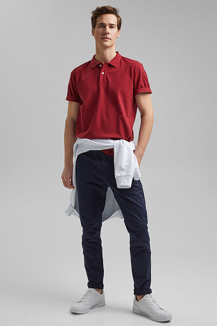 Piqué polo shirt made of 100% organic cotton, DARK RED, detail image number 2