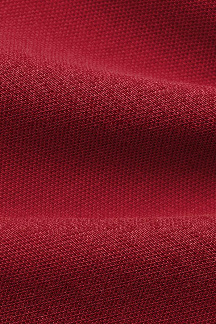 Koszulka polo z piki, 100% bawełny ekologicznej, DARK RED, detail image number 4