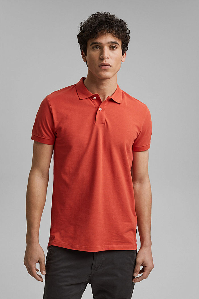 Piqué polo shirt made of 100% organic cotton, CORAL, detail image number 4