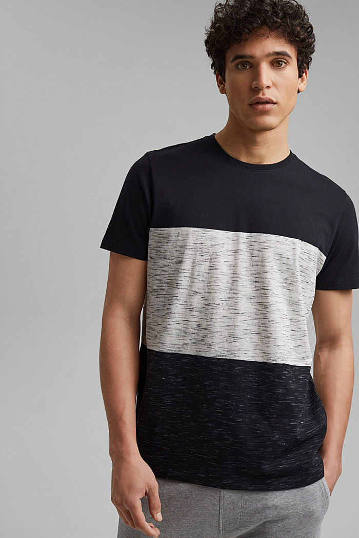 Block stripe top, organic cotton, ANTHRACITE, detail image number 0