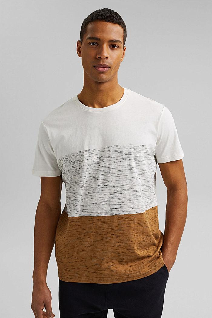 T-shirt à rayures larges, coton biologique, KHAKI BEIGE, detail image number 0