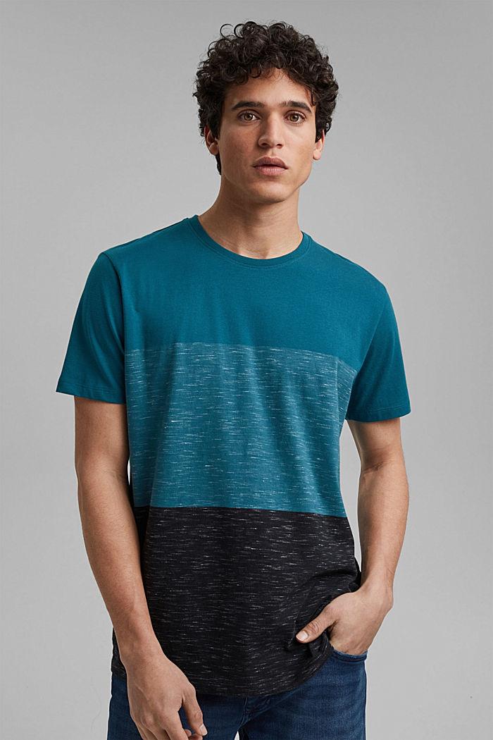 Block stripe top, organic cotton, PETROL BLUE, detail image number 0