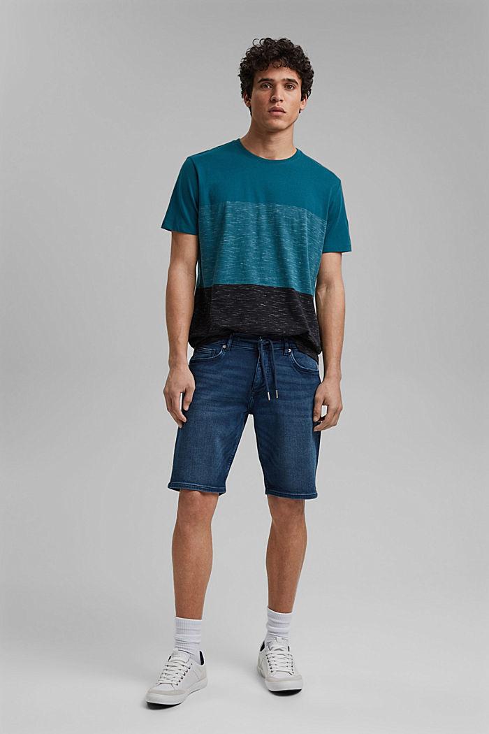 Block stripe top, organic cotton, PETROL BLUE, detail image number 2