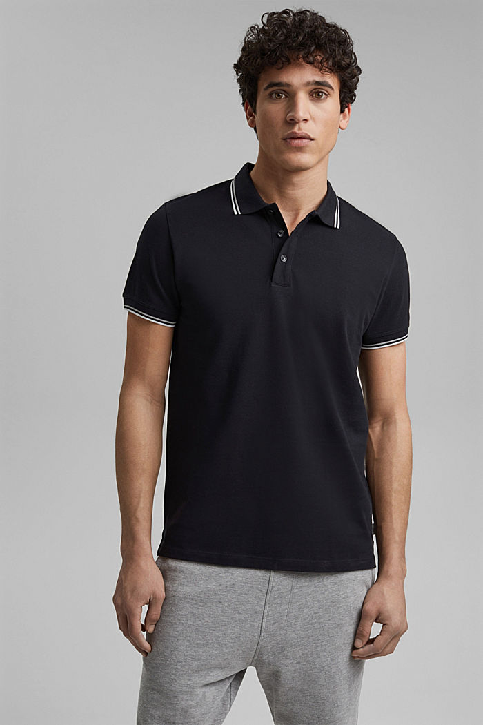 Piqué polo shirt made of 100% organic cotton, BLACK, detail image number 0