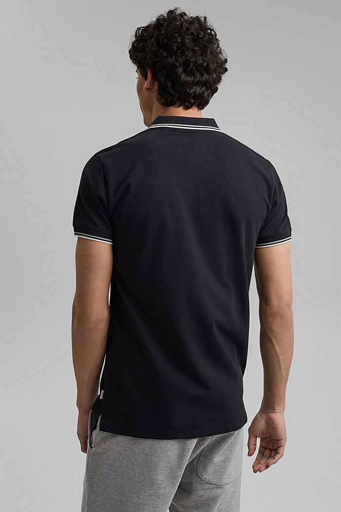 Piqué polo shirt made of 100% organic cotton, BLACK, detail image number 3