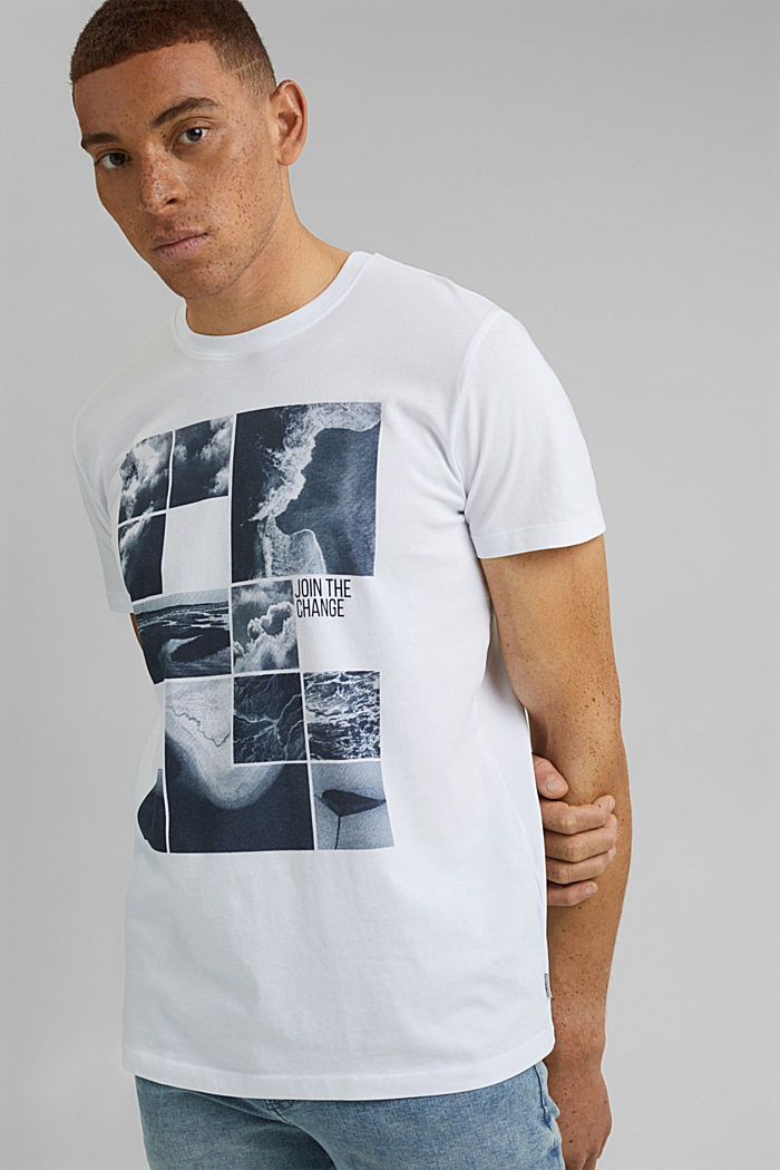 Printed T-shirt in 100% organic cotton, WHITE, detail image number 0