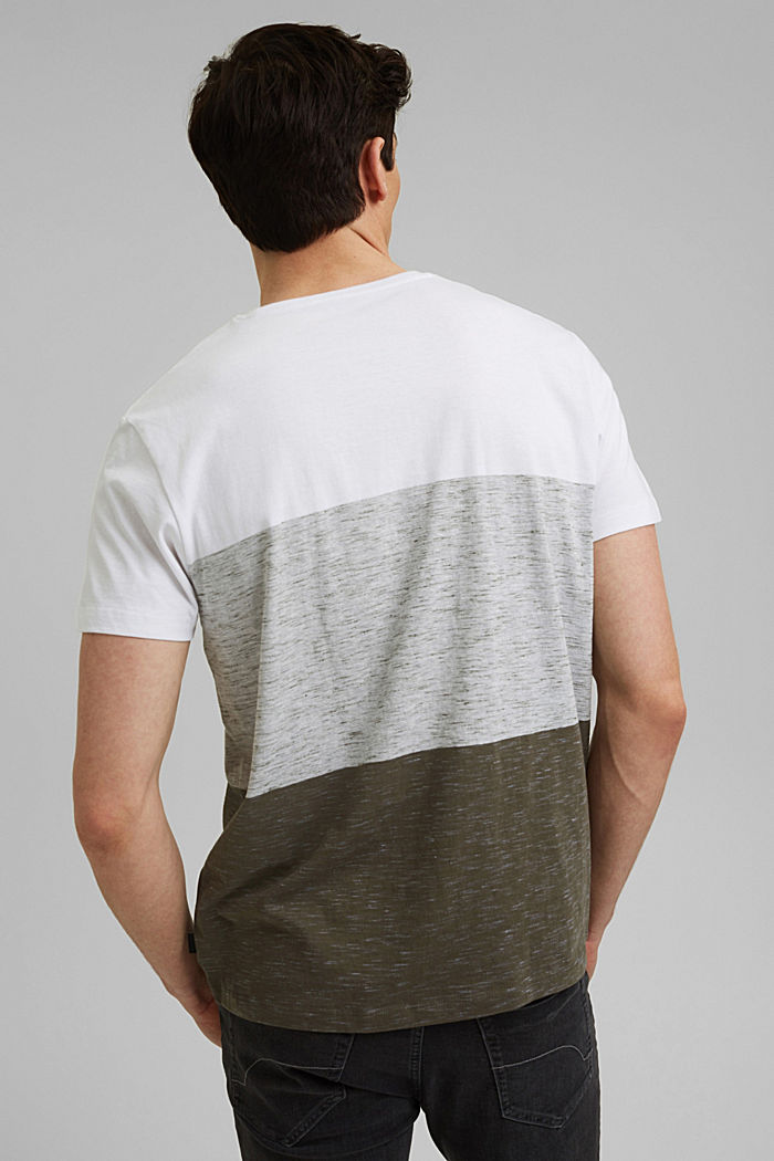 T-shirt with block stripes with organic cotton, DARK KHAKI, detail image number 3