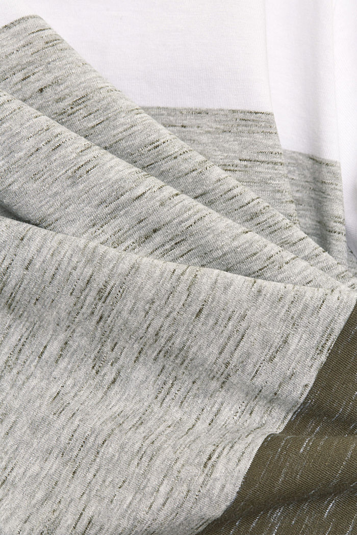 T-shirt with block stripes with organic cotton, DARK KHAKI, detail image number 4