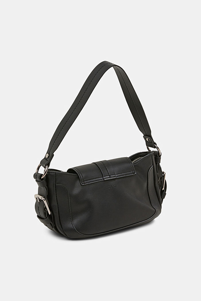 Vegan: baguette-style shoulder bag, BLACK, detail image number 4