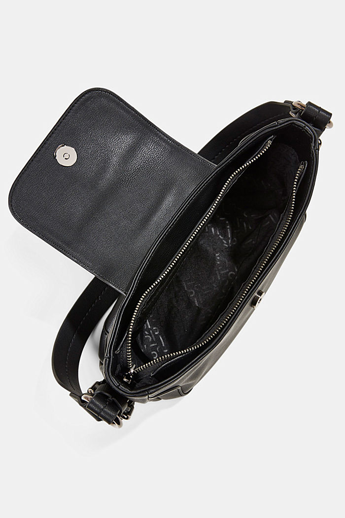 Vegano: bolso bandolera de estilo Baguette, BLACK, detail image number 4