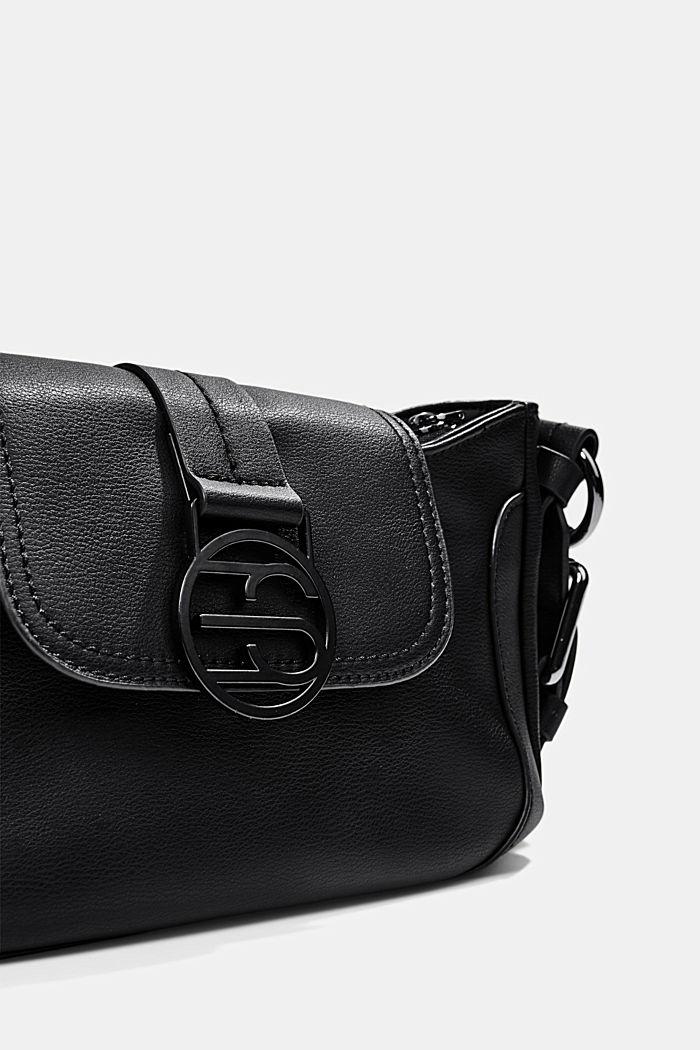 Vegan: baguette-style shoulder bag, BLACK, detail image number 3