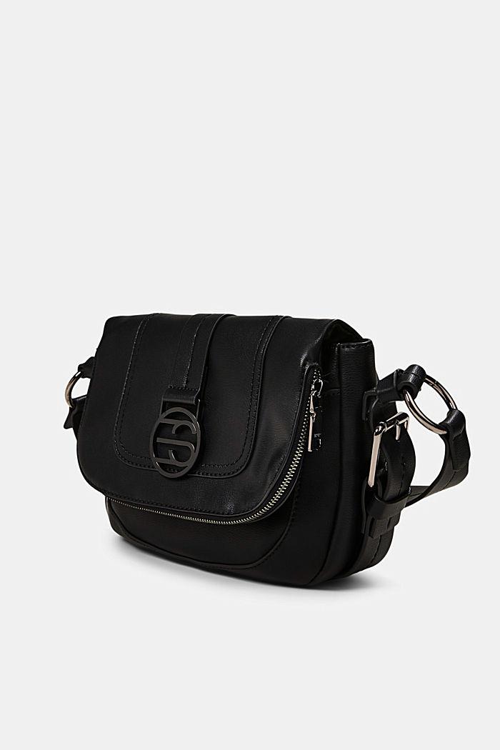 Vegan: Hallie T. flap-over bag, BLACK, detail image number 2
