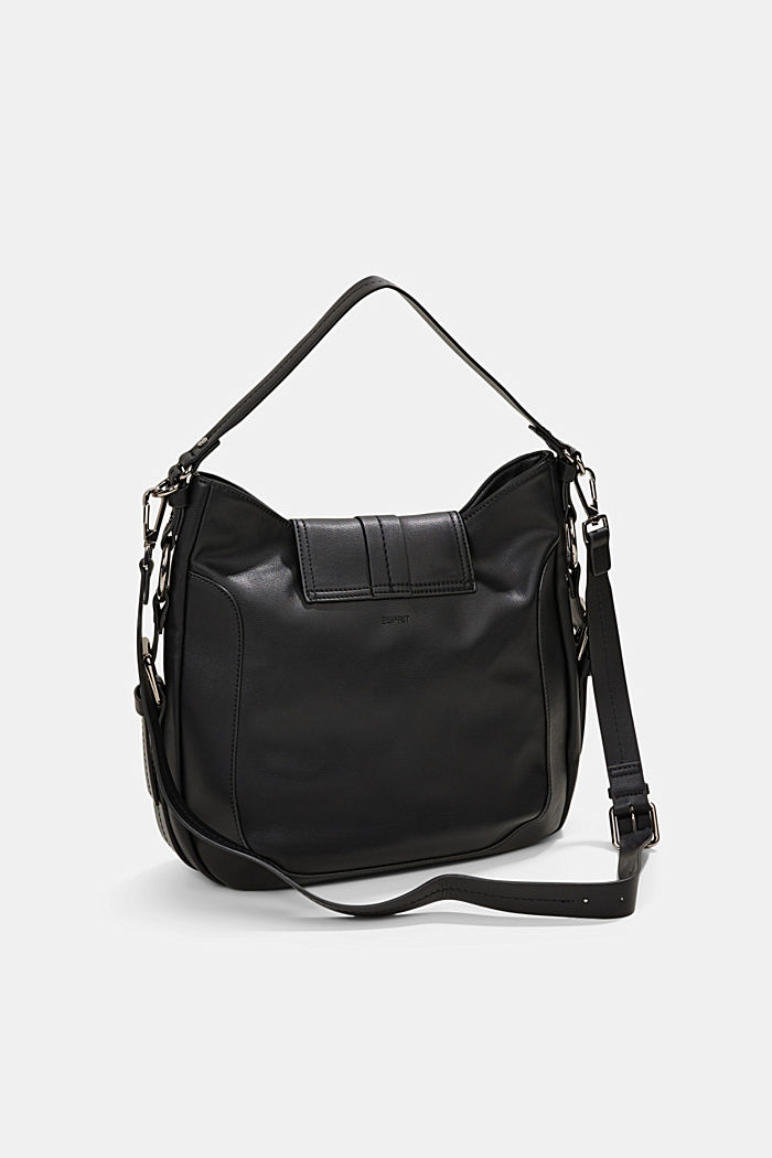Hallie T. hobo shoulder bag, vegan, BLACK, detail image number 4