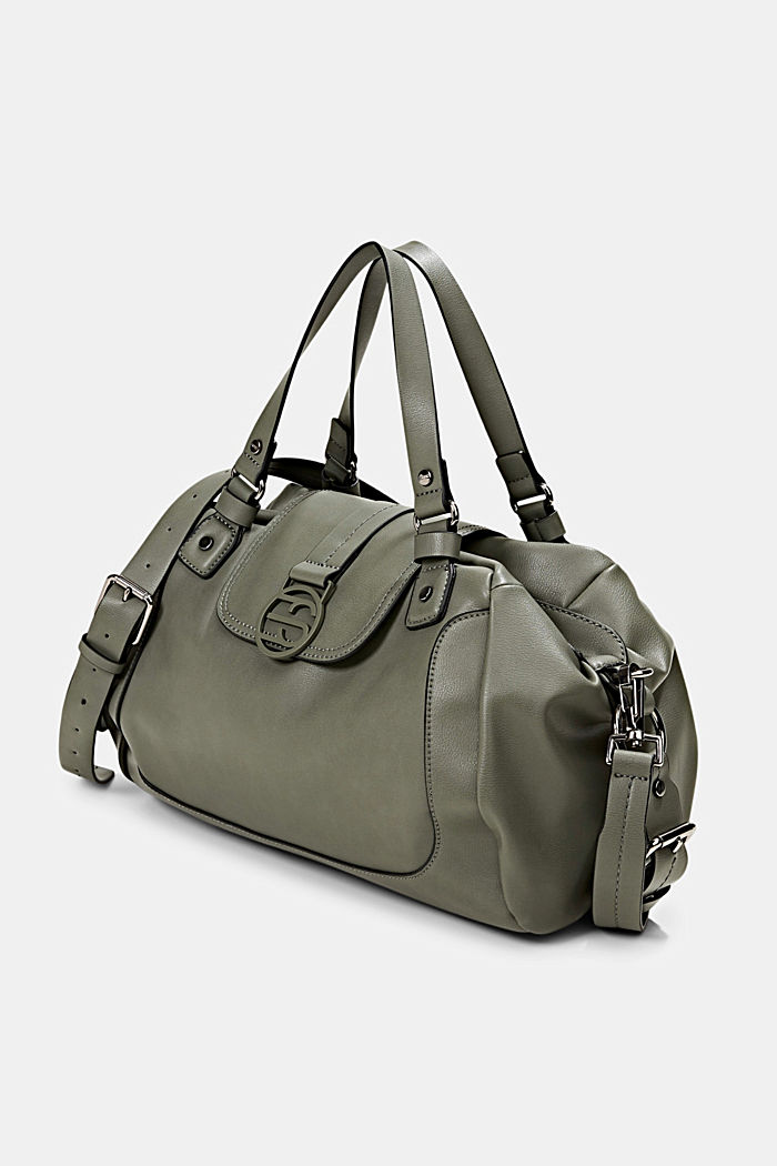Vegan: City bag with adjustable shoulder strap, OLIVE, detail image number 2