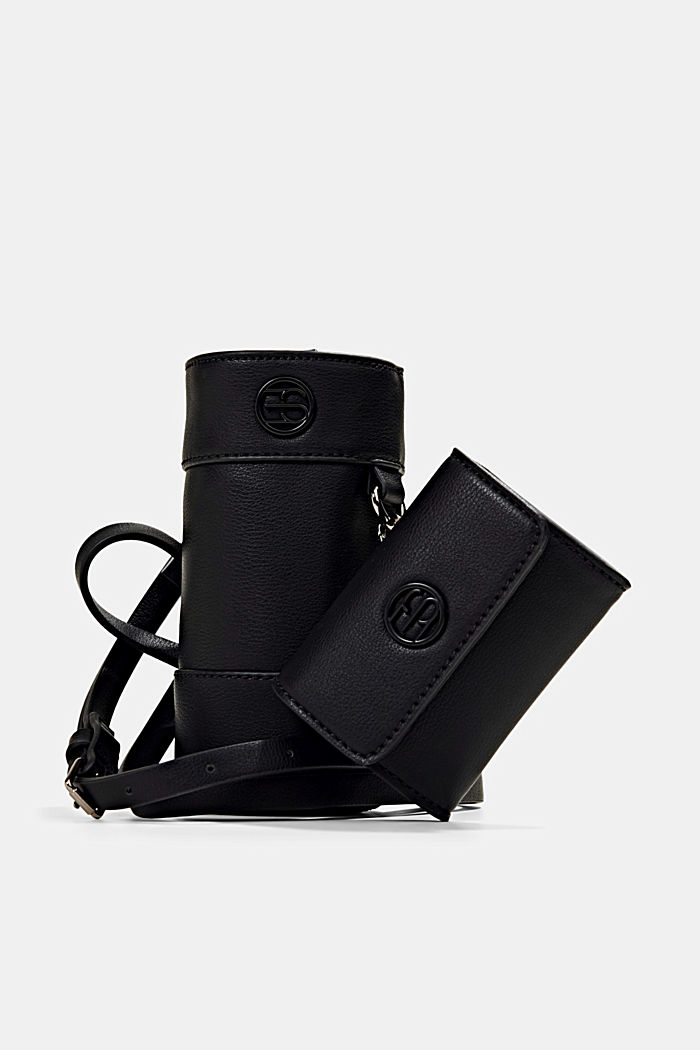 Vegan: bottle bag plus small wallet, BLACK, detail image number 0