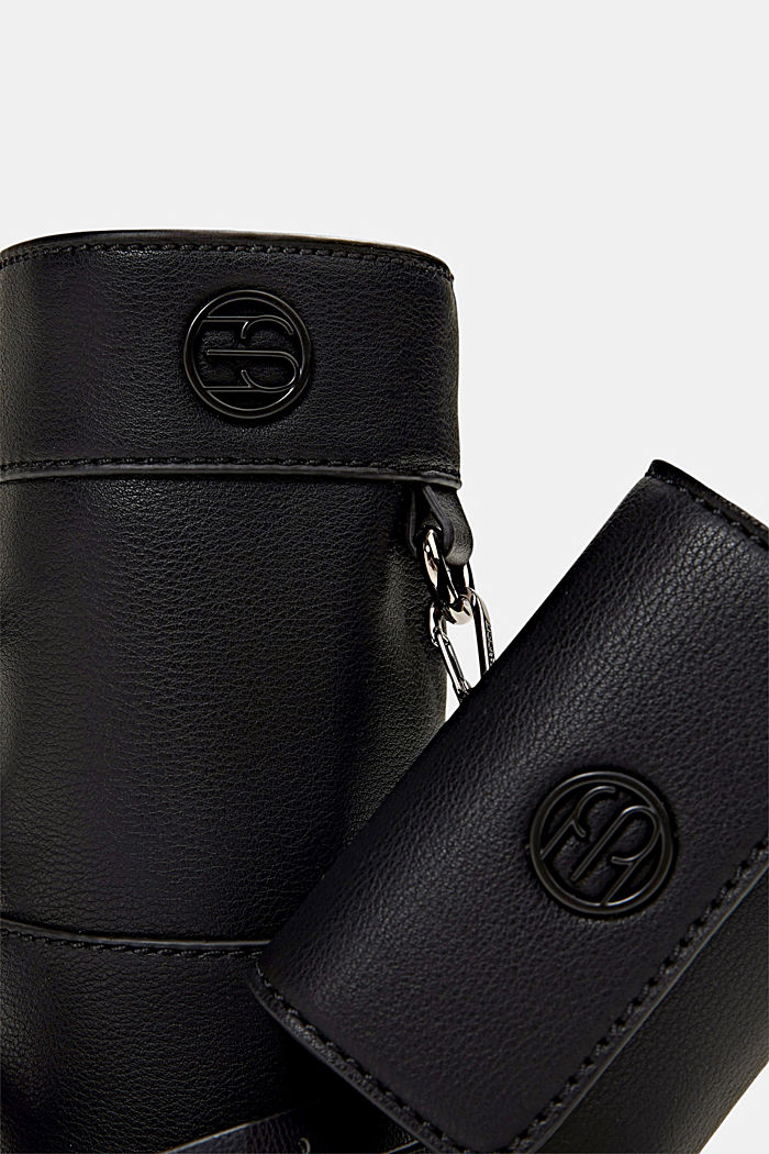 Vegan: bottle bag plus small wallet, BLACK, detail image number 3