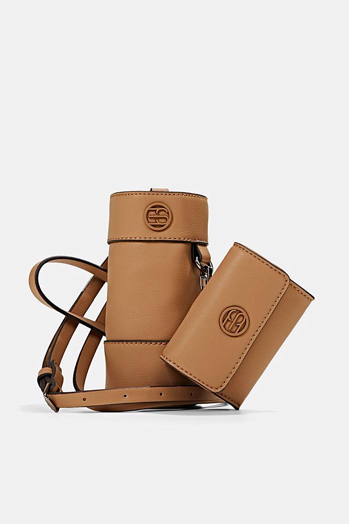 Vegan: bottle bag plus small wallet, CAMEL, detail image number 0