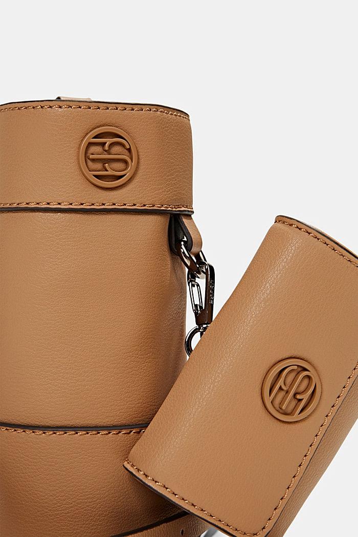 Vegan: bottle bag plus small wallet, CAMEL, detail image number 3