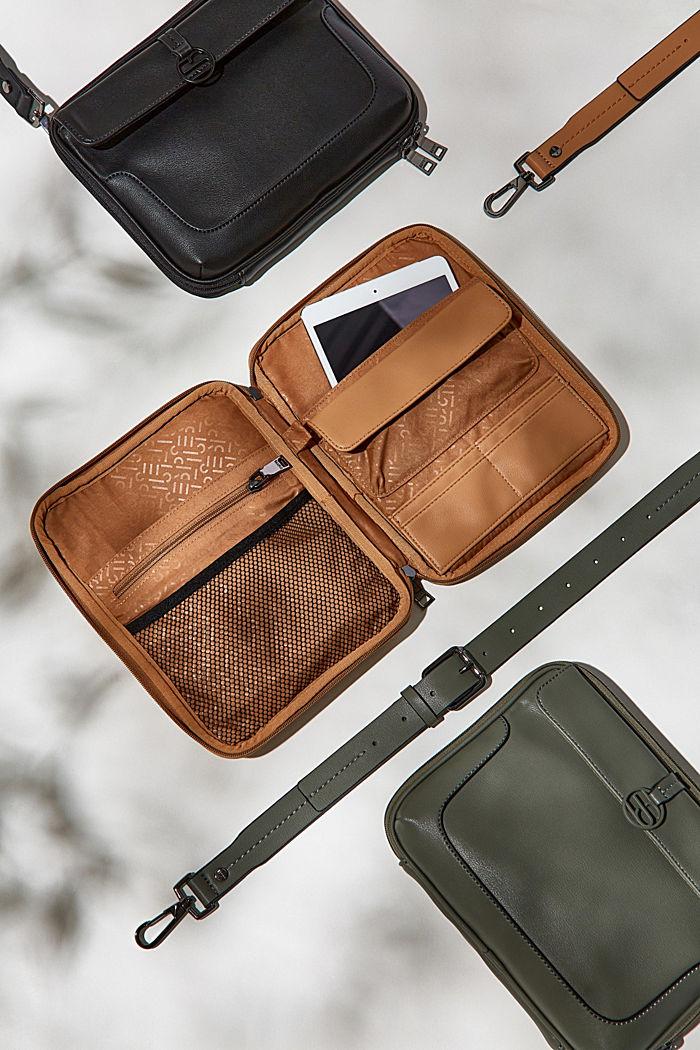 Veganistisch: tas met veel vakken en een verstelbare riem, BLACK, detail image number 6