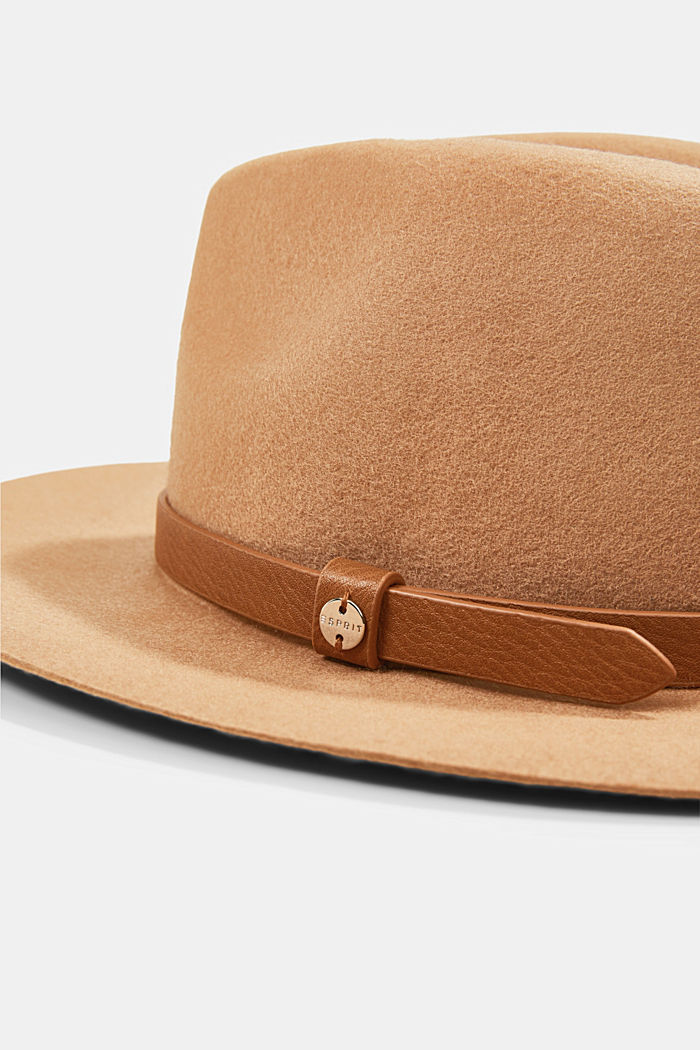 Sombrero fedora en 100% lana, CAMEL, detail image number 1