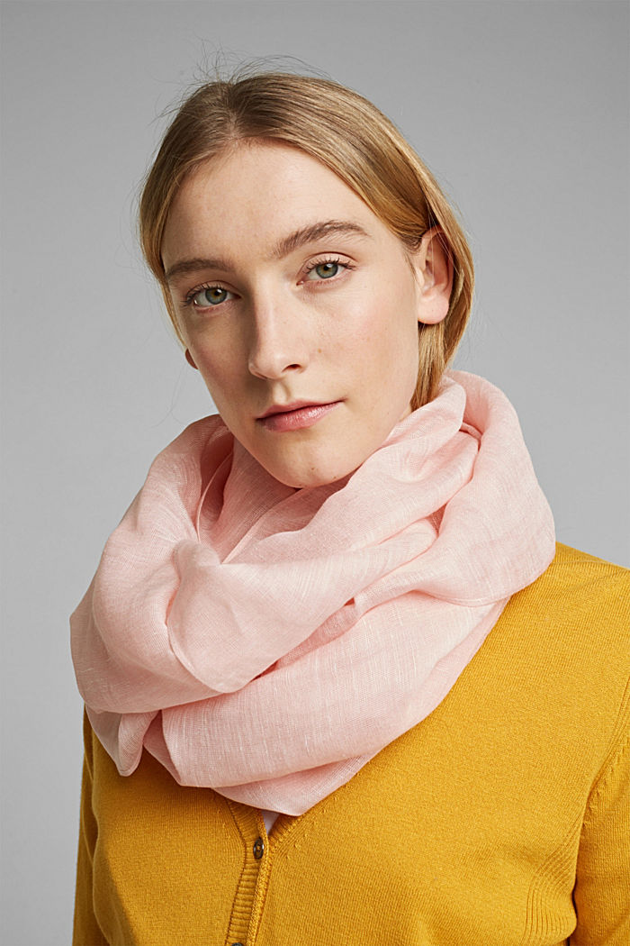 Woven scarf with linen and LENZING™ ECOVERO™, NUDE, detail image number 1