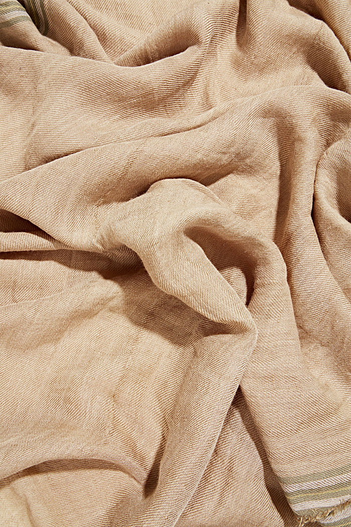 Woven scarf with linen, SAND, detail image number 2