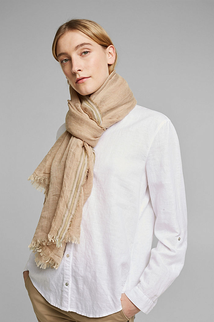 Woven scarf with linen, SAND, detail image number 1