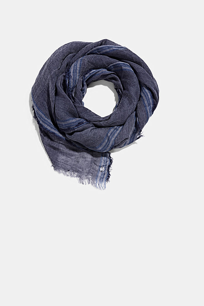 Woven scarf with linen, NAVY, detail image number 0