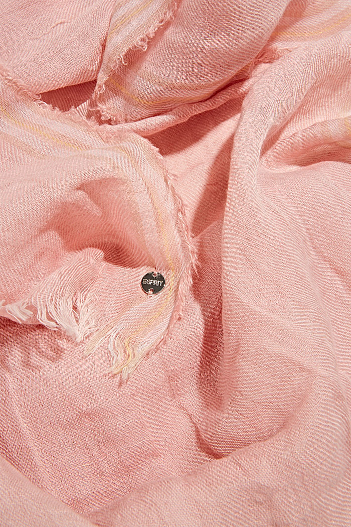 Woven scarf with linen, NUDE, detail image number 2