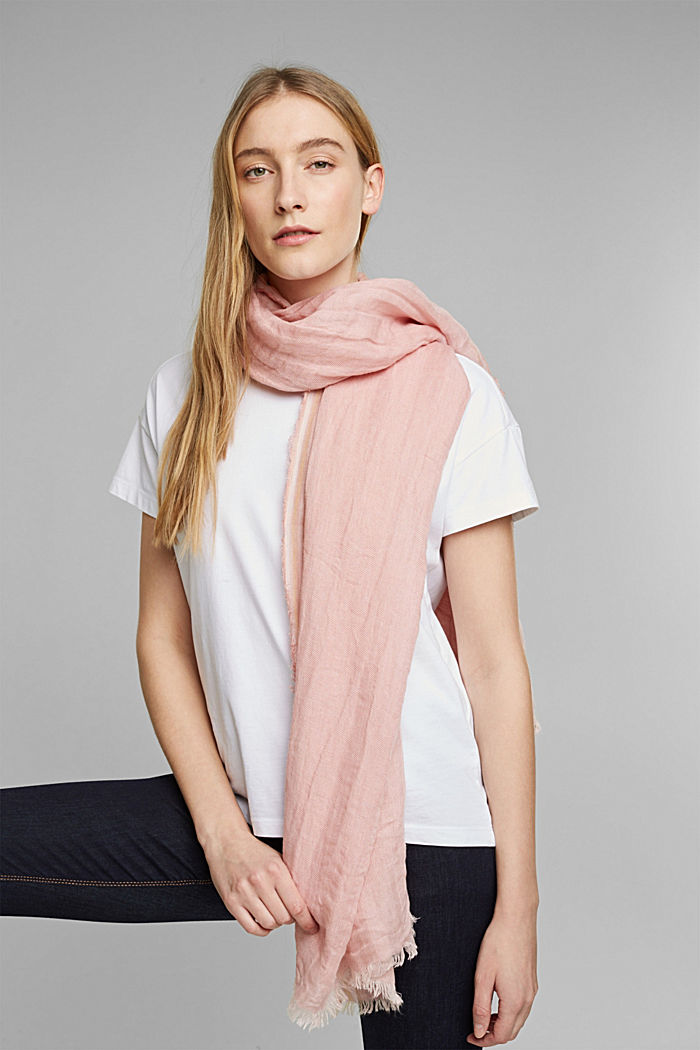 Woven scarf with linen, NUDE, detail image number 1