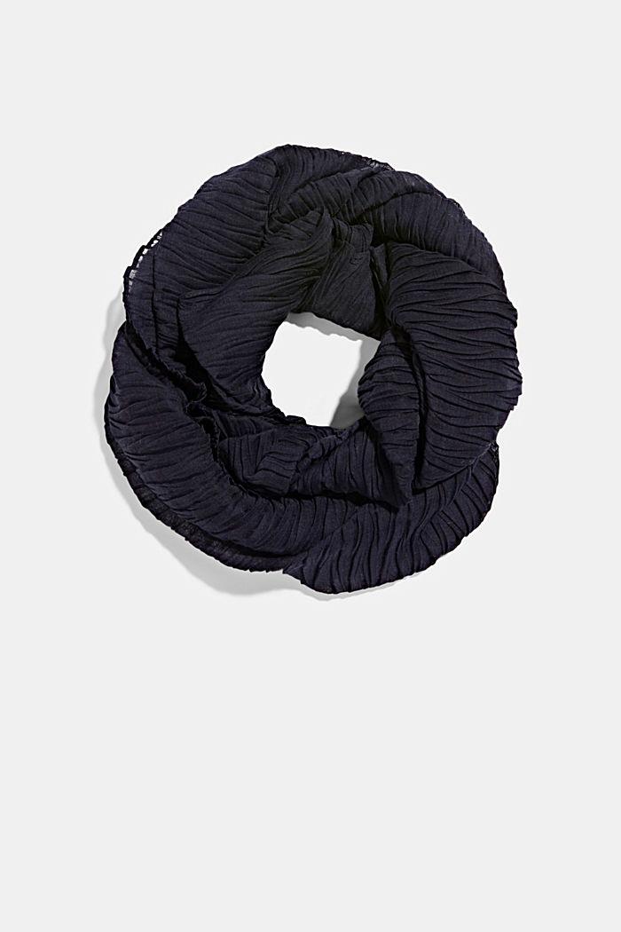 Gerecycled: sjaal met plooien, NAVY, detail image number 0