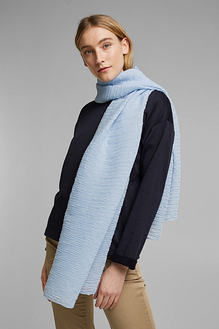 Recycled: Scarf with accordion pleats, PASTEL BLUE, detail image number 1