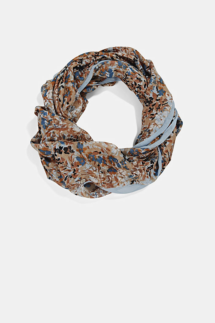 Recycled: Woven scarf with flora print, SAND, detail image number 0