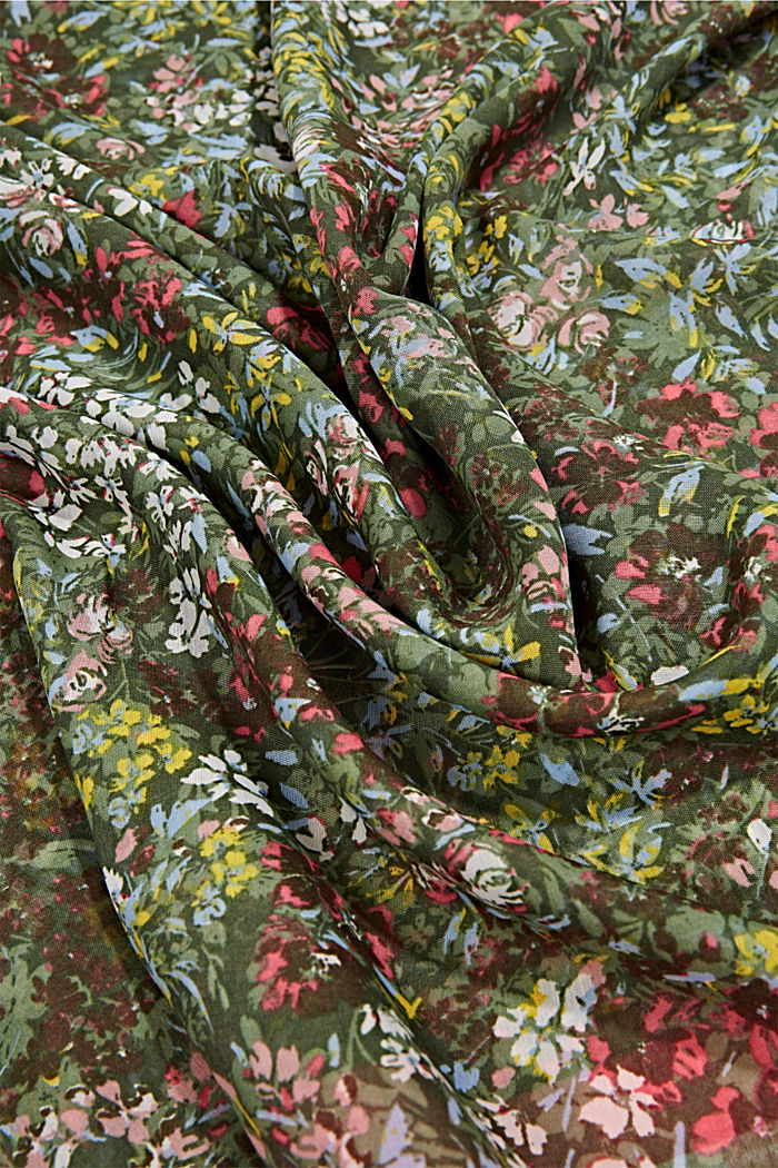 Recycled: Woven scarf with flora print, KHAKI GREEN, detail image number 2